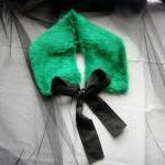 Emerald green faux fur coll..