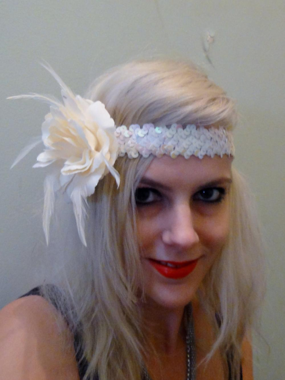 1920s Cream flapper headband races