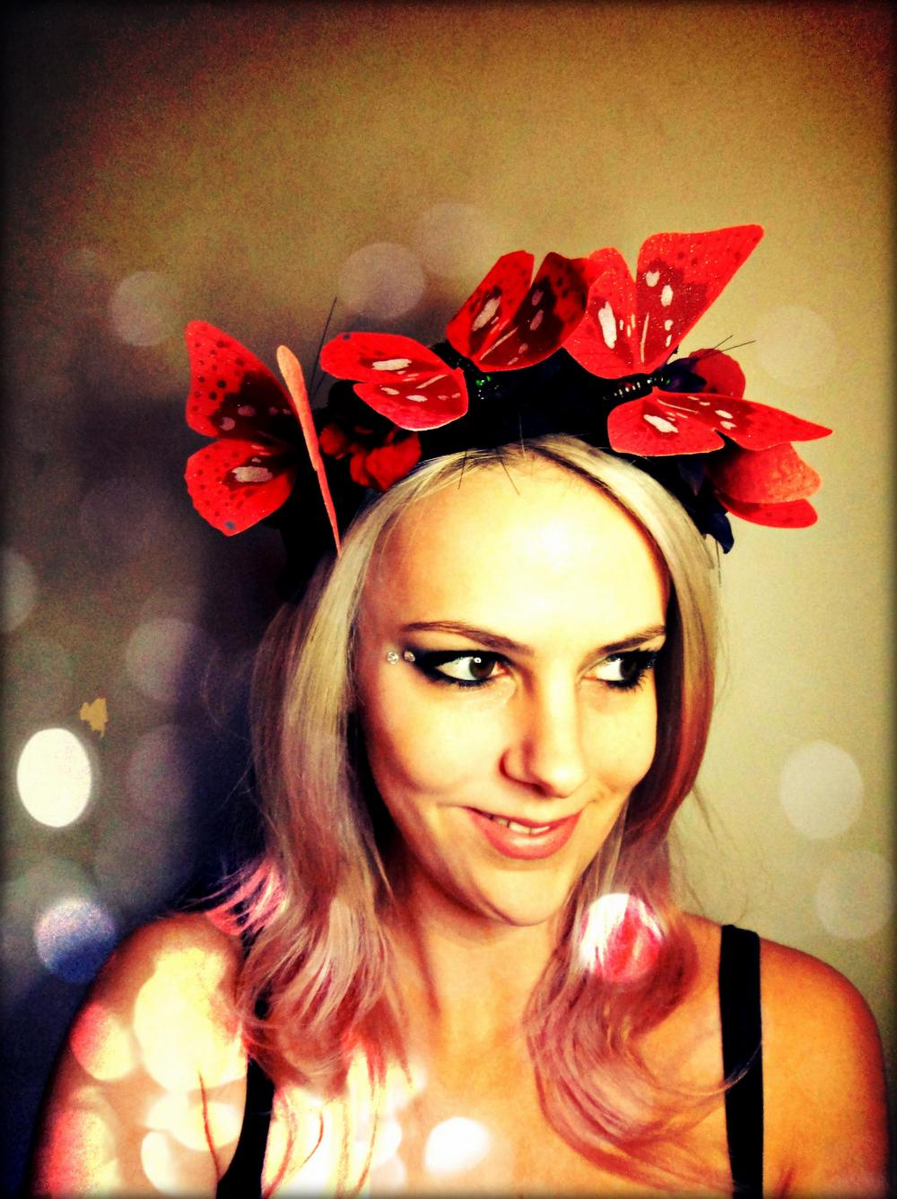 Red Butterfly and flowers Headband butterfy tiara