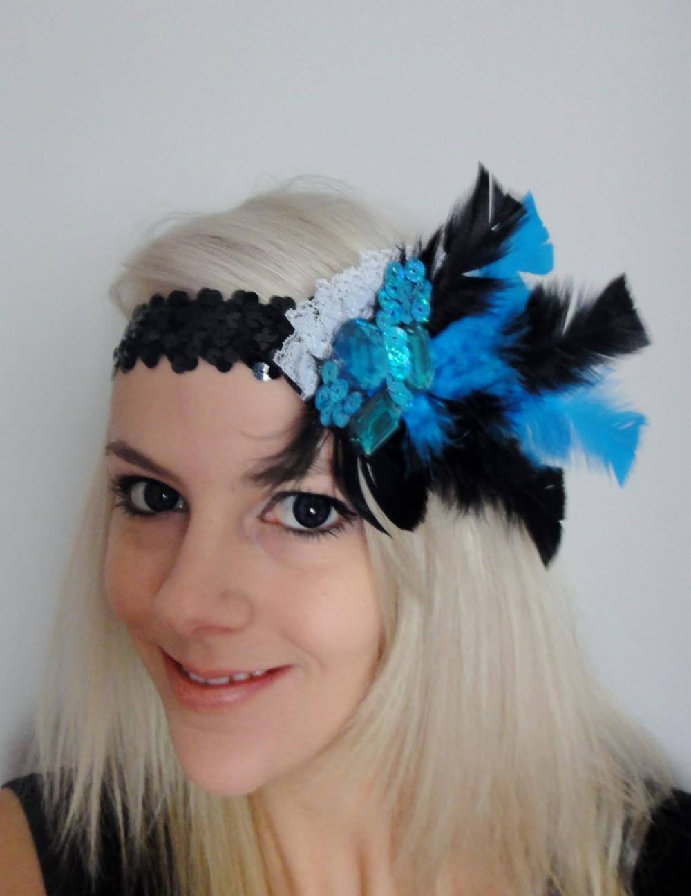 Turquoise & Black 1920s flapper headband