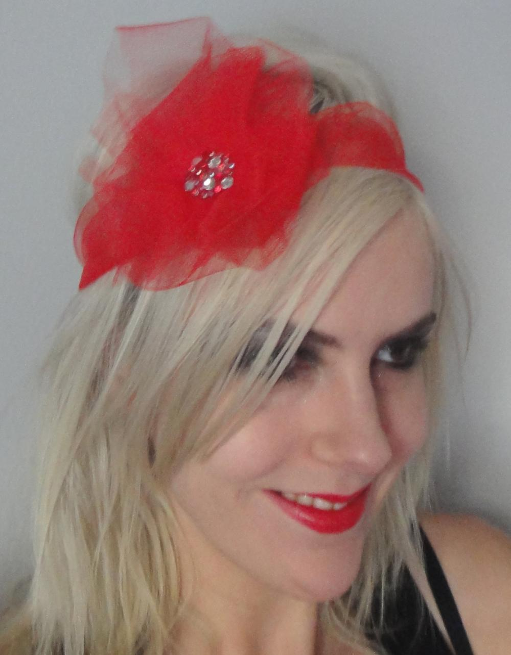 SALE 1920s red tulle flapper headband