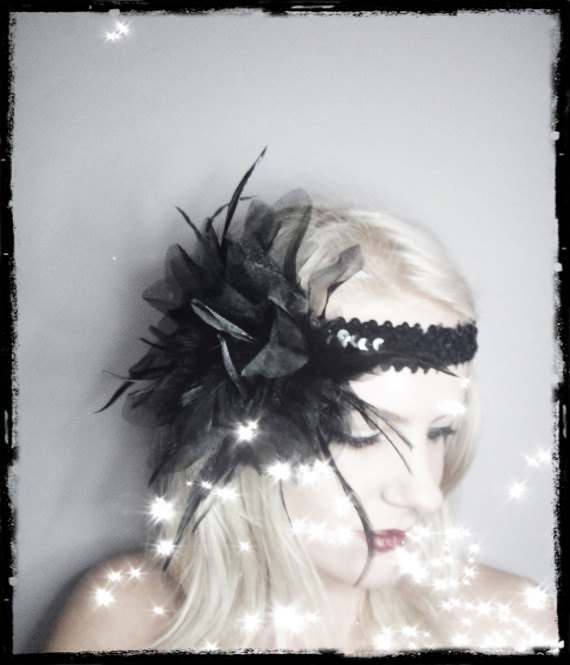 1920s black flapper headband