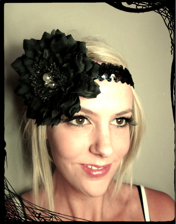 1920s black and pearls flapper headband races