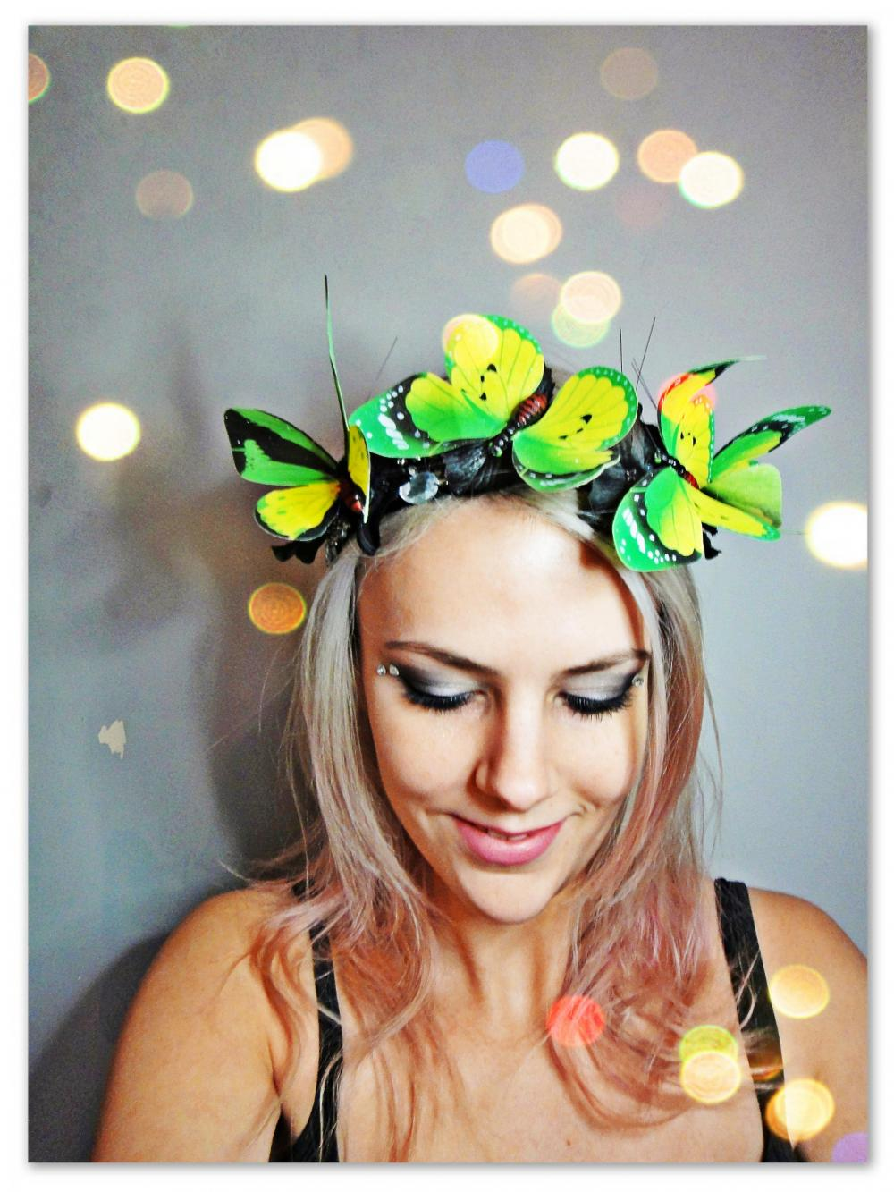 Green Yellow Butterfly and flowers Headband butterfy tiara