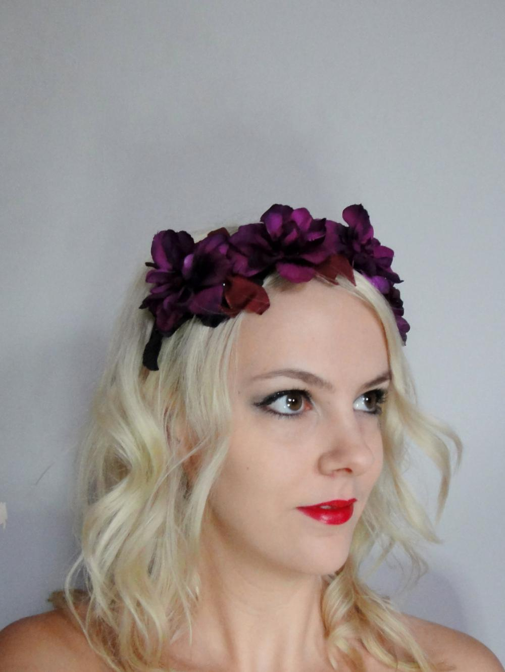 Purple Red Floral Blossom Headband