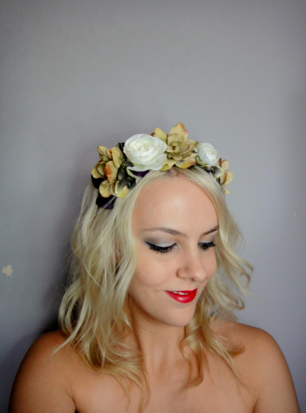 White and beige Blossom Headband