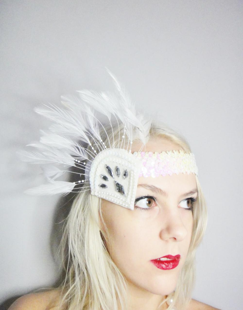 1920s white and silver flapper headband