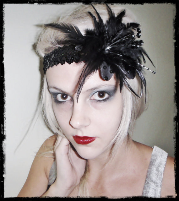 1920s black flapper headband races