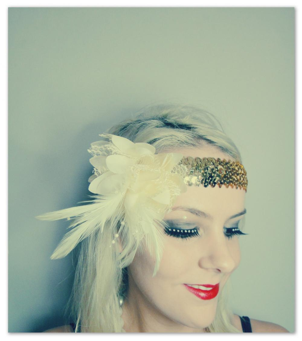 1920s cream and gold feather flapper headband races