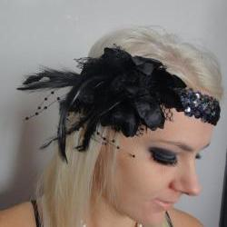 1920s black feather flapper headband races