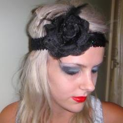 1920s black rose flapper headband