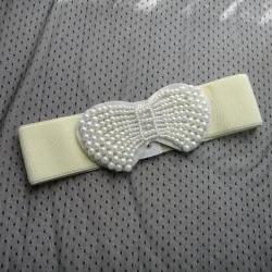 1920s white beaded bow belt