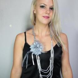 1920s necklace and brooch combo grey