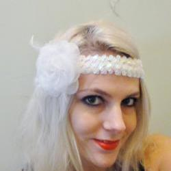1920s white rose flapper headband