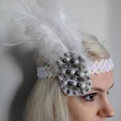 White Feather Headband 1920s
