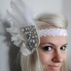 Lace and Feathers Headband