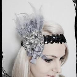 Grey &amp; Silver 1920s Flapper Headband