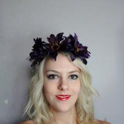 Purple Sunflower Woodland Headband
