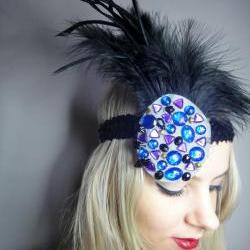 1920s multi coloured flapper headband