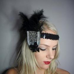 1920s black stripe feather flapper headband