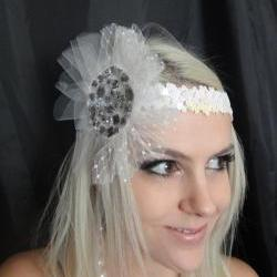 1920s White Headband with Tulle &amp; Gemstones