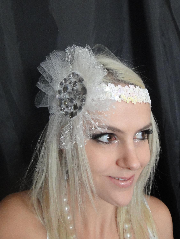 1920s White Headband With Tulle & Gemstones on Luulla